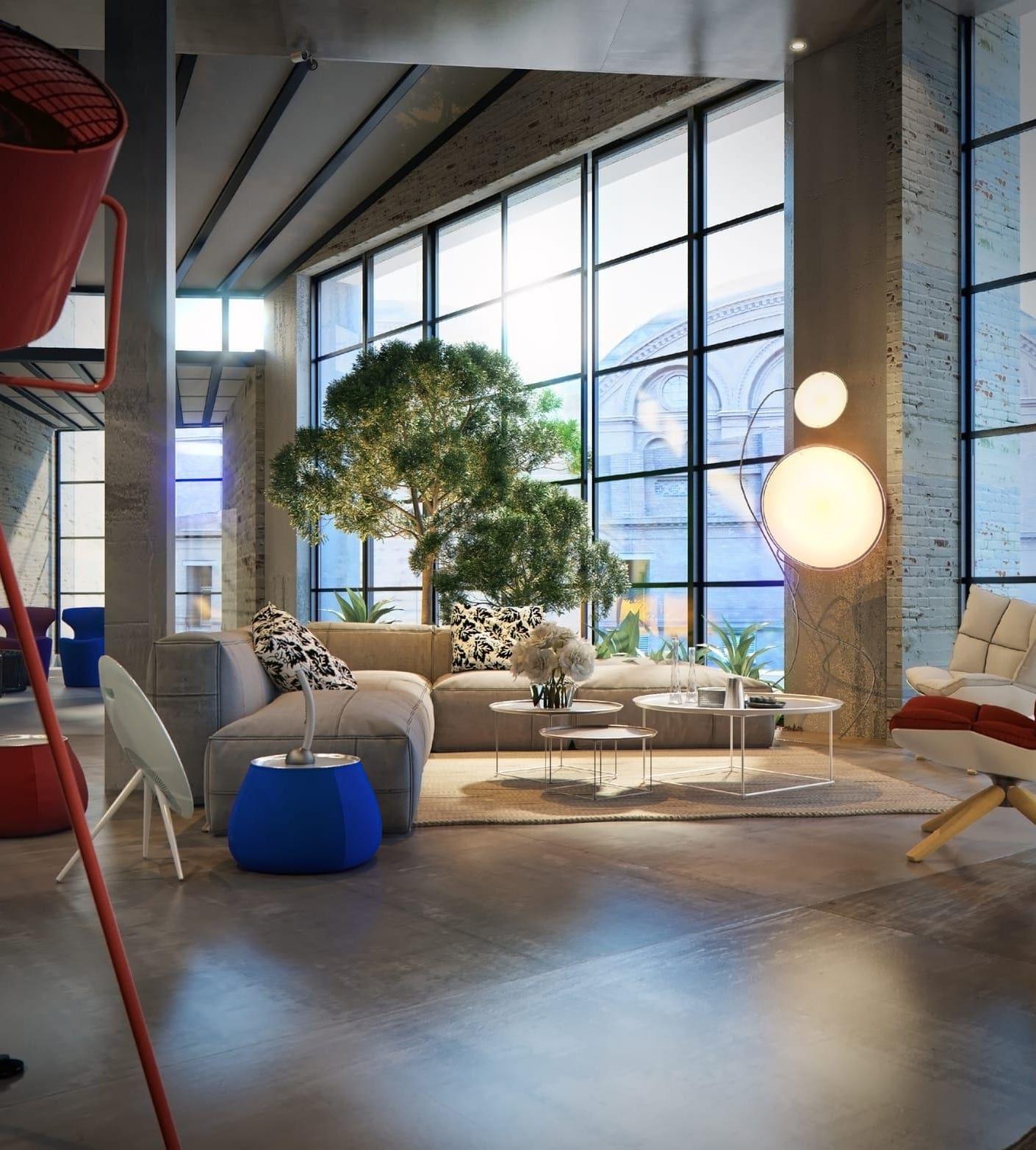 Декоративные комнатные растения - новый тренд в дизайне модных лофт интерьеров
