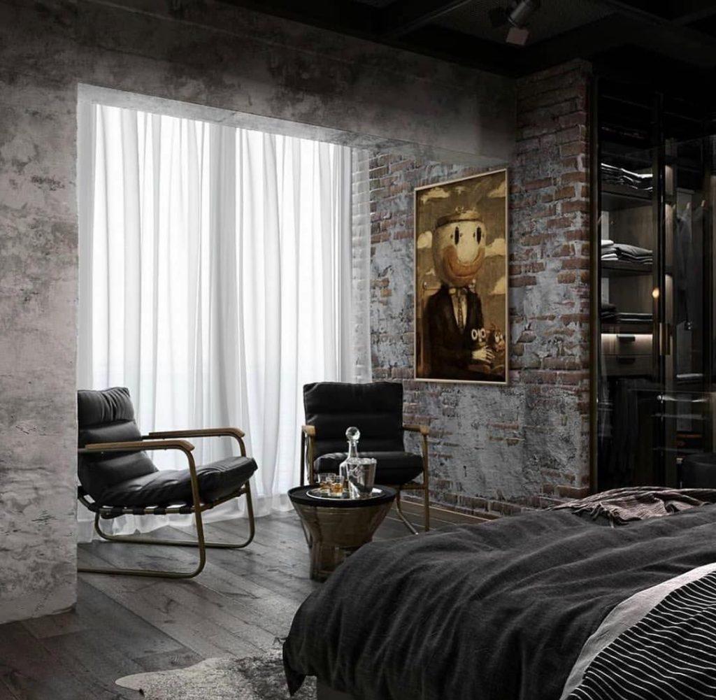 Уютная спальня с кирпичной стеной