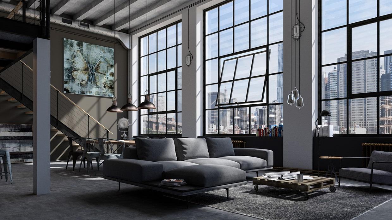 Просторное помещение, бетонные стены и потолок, большие окна - классический вариант оформления гостиной в стиле лофт
