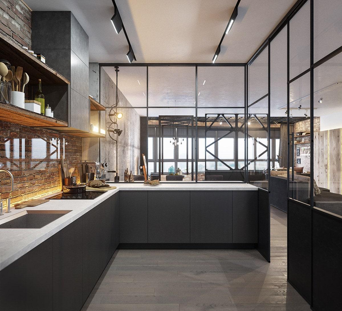 Кухонный гарнитур на фоне кирпичной кладки выглядит шикарно