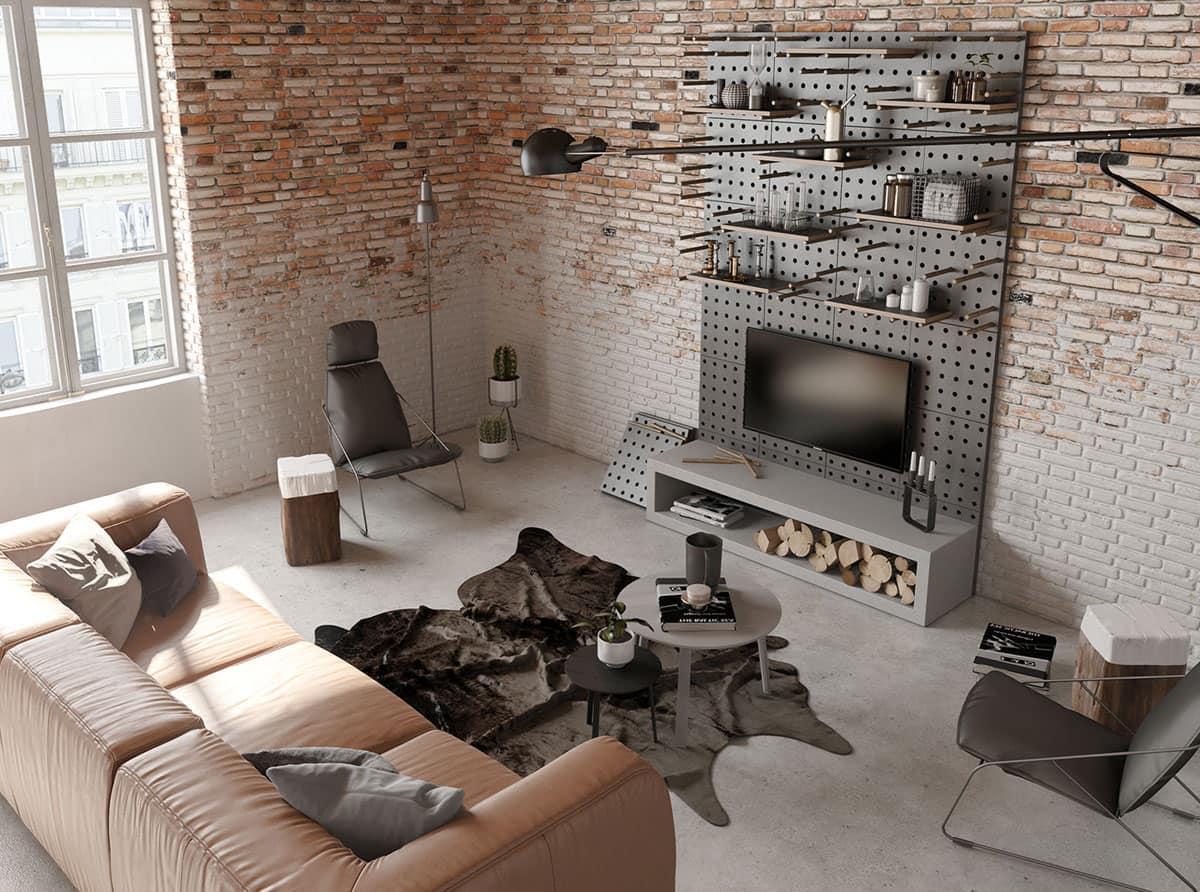 Интересный дизайн-проект квартиры лофт с кирпичными стенами
