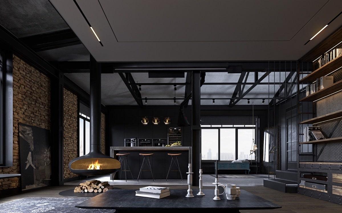 Брутальная гостиная с камином в темном цвете