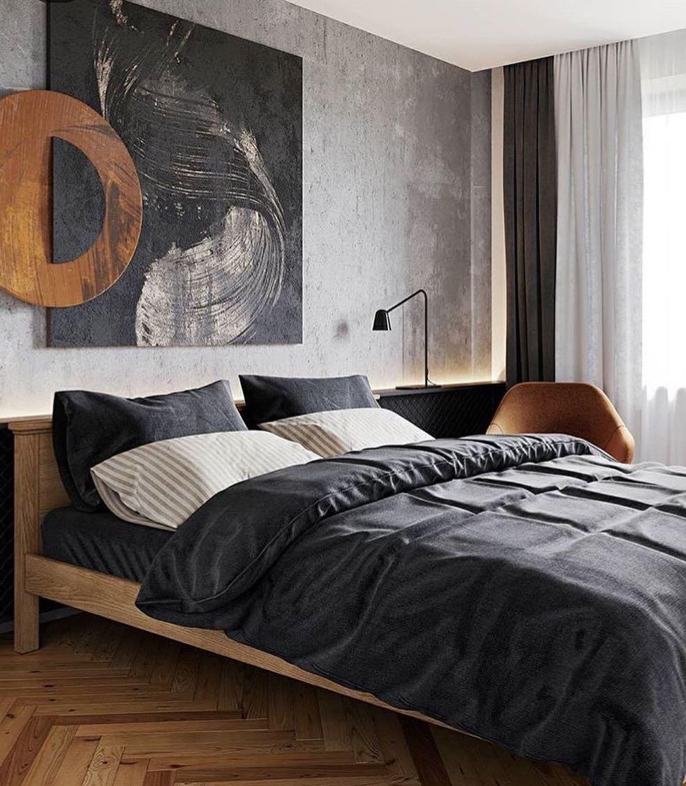 Классический вариант кровати в стиле лофт