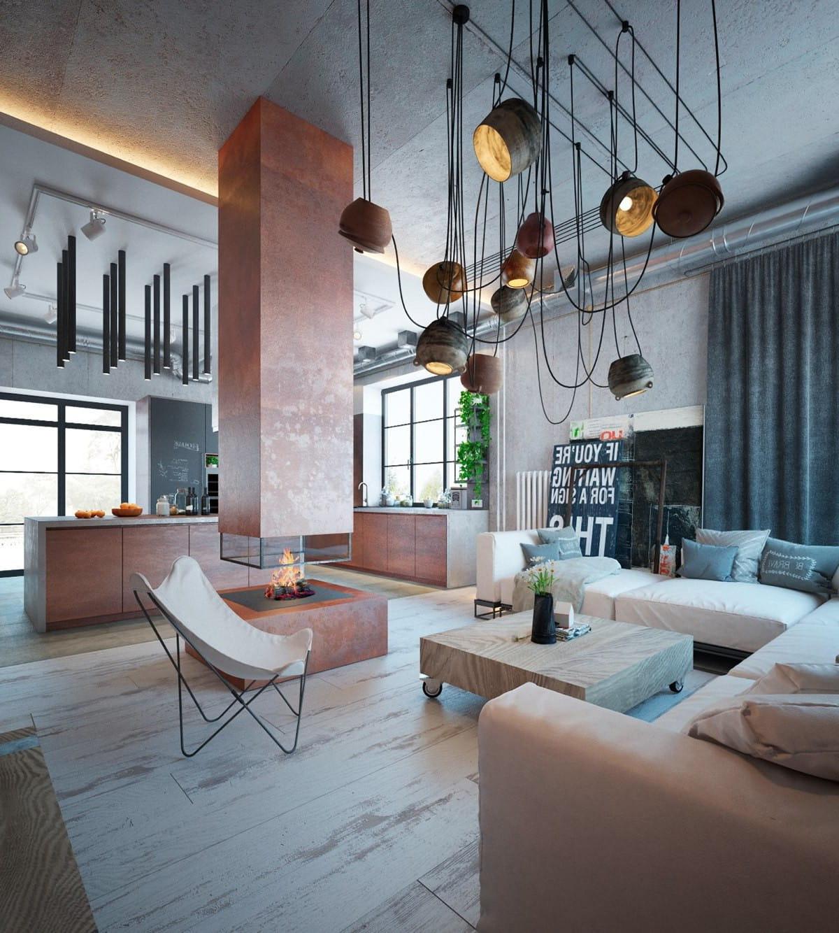 Квартира-студия в стиле лофт с шикарным камином в центре внимания
