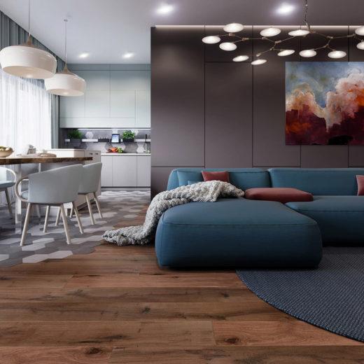 фото гостиной объединенной с кухней