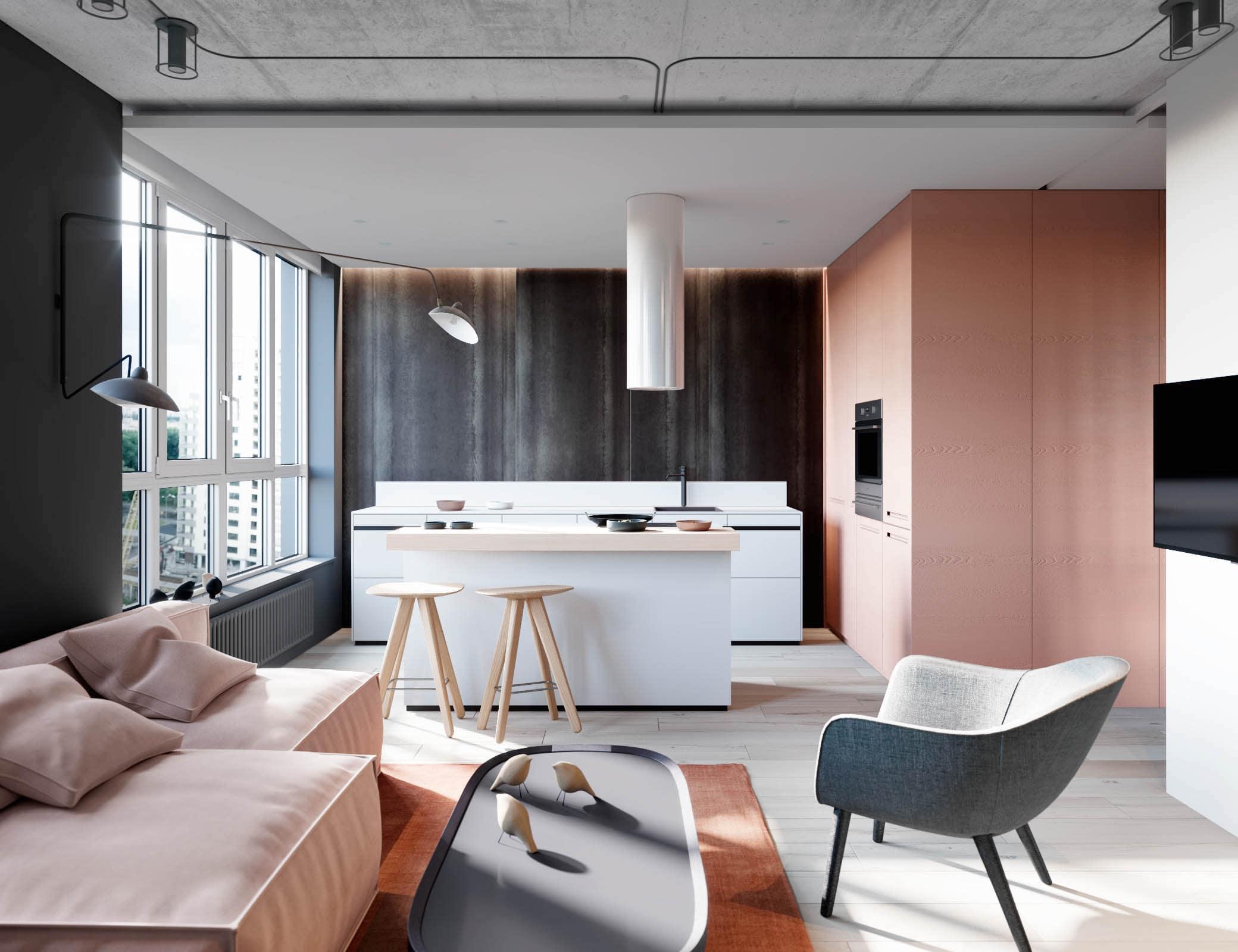 Разграничить пространство комнаты можно при помощи разных покрытий потолка