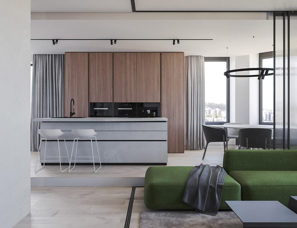 Рабочая зоны кухни на подиуме - стильное и свежее решение