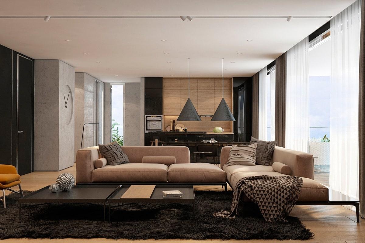 Современный проект квартиры студии для молодой семьи