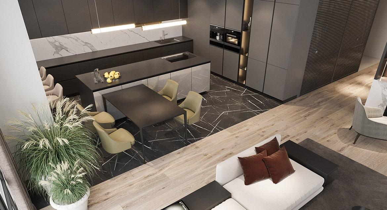 При помощи цвета и фактуры напольного покрытия прослеживаются заданные границы зонирования комнаты