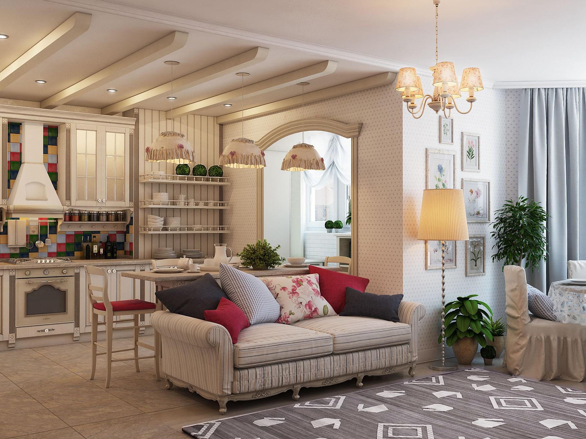 Деревянные балки на потолке - это характерная черта стиля прованс