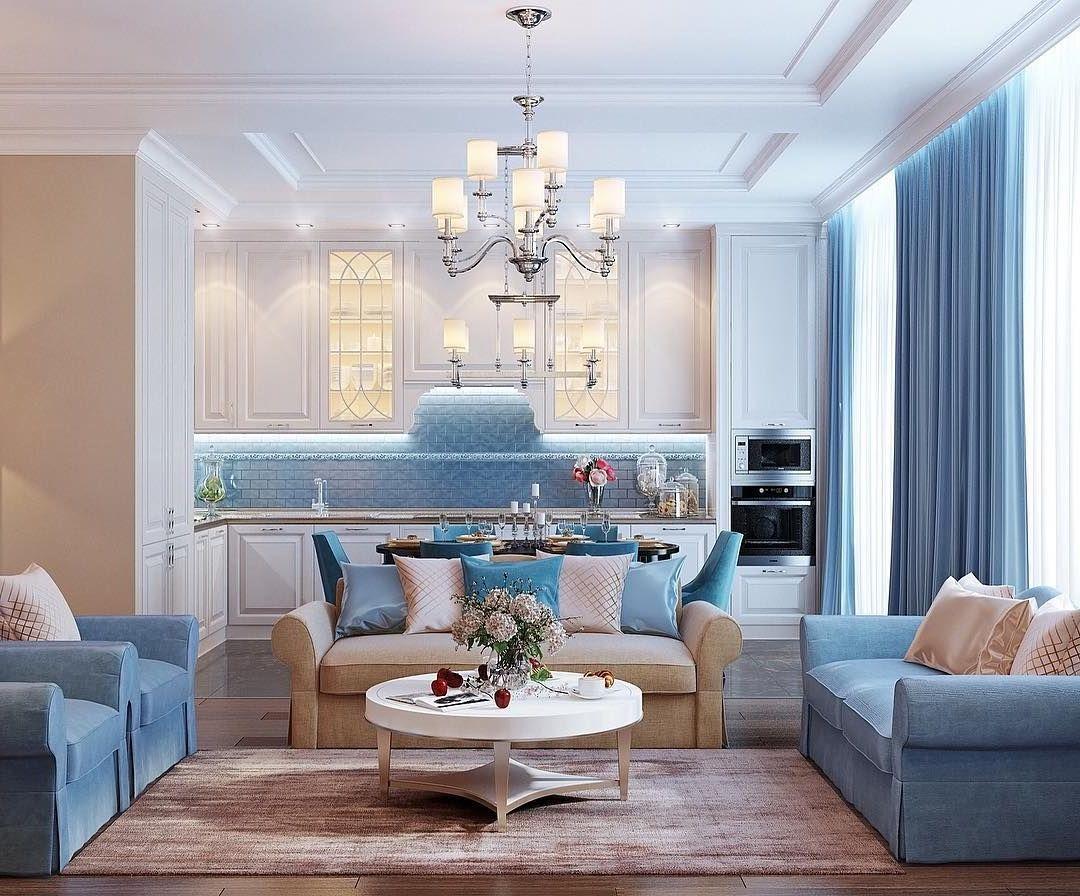 Маленькая комната в холодно-голубом тоне визуально увеличивается в размерах
