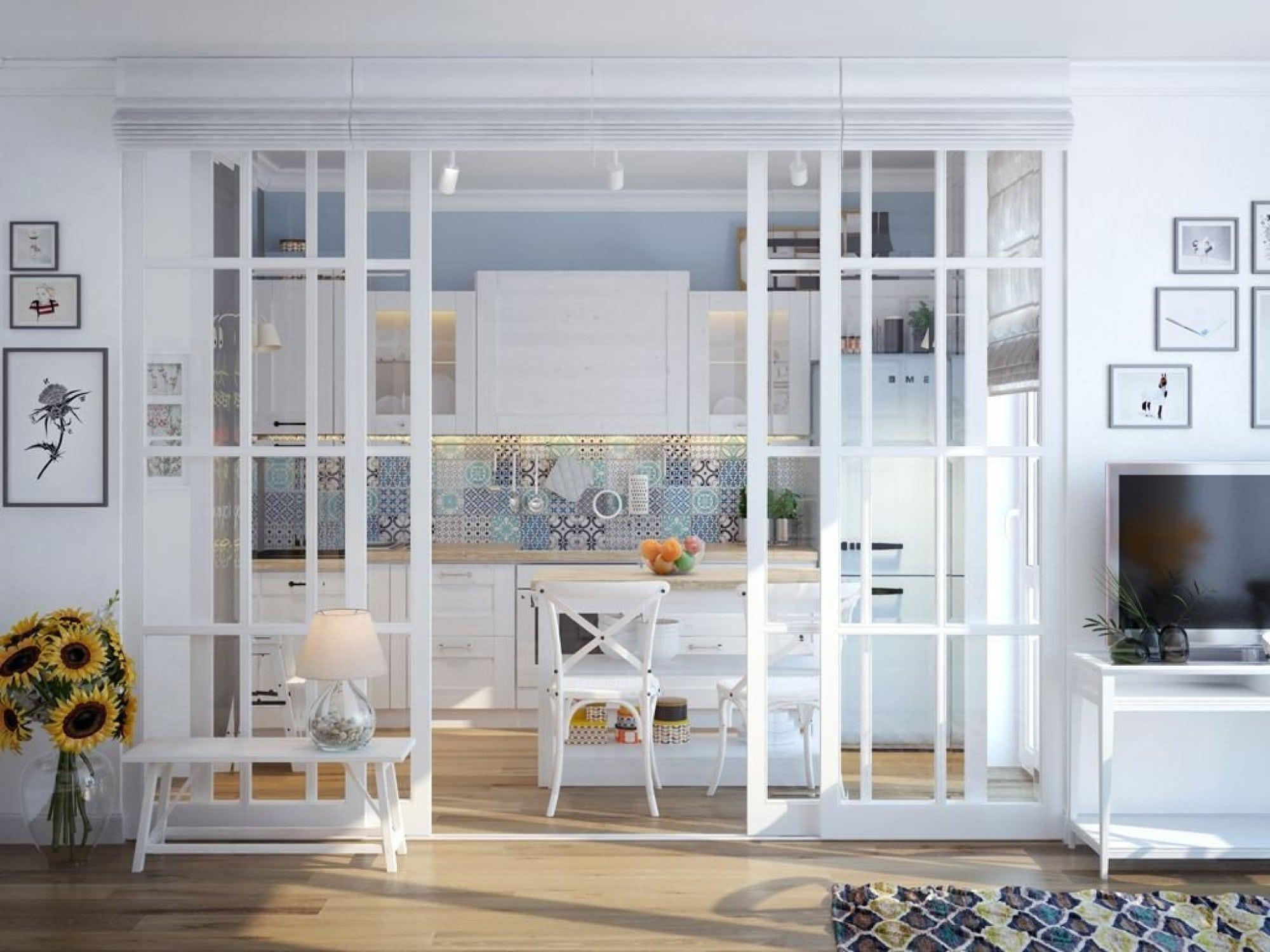 Стильное решение для разделения пространства между кухней и гостиной