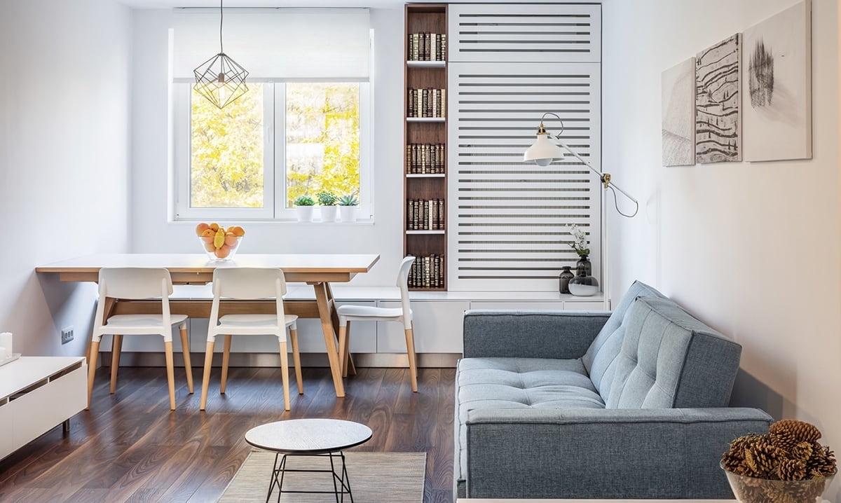 Чтобы помещение не выглядело перегруженным используйте минимальное количество мебельного гарнитура