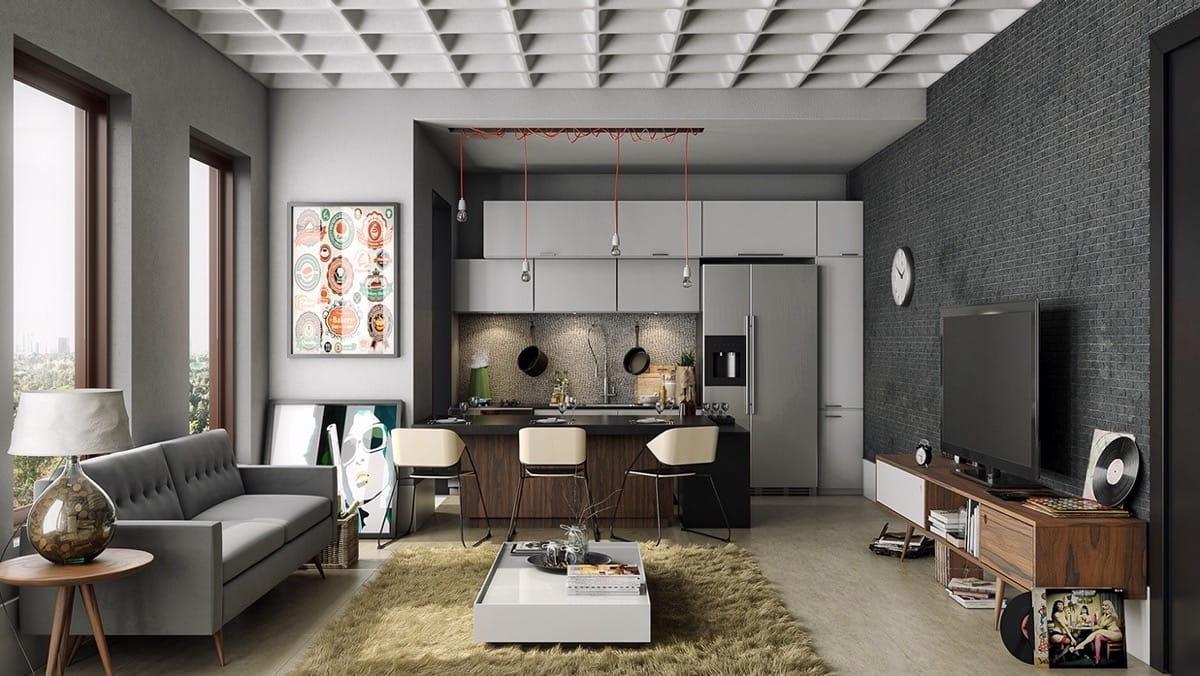Идеальный интерьер просторной гостиной-столовой в серых тонах