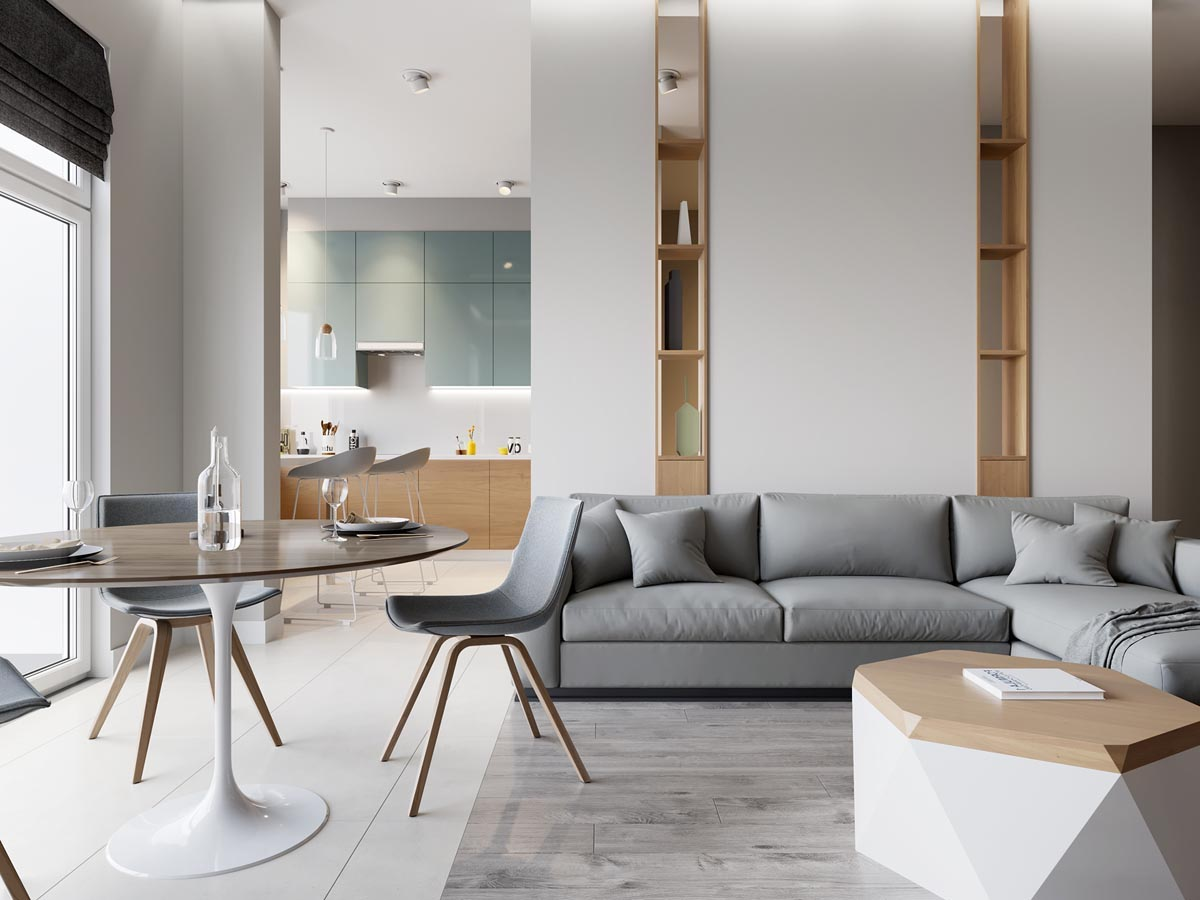 Классический скандинавский минимализм гостиной, где каждая деталь по-своему безупречна
