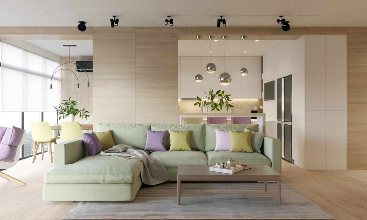 Приятная цветовая палитра в интерьере квартиры студии