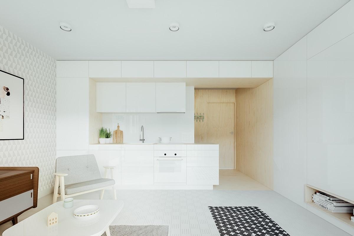 модный дизайн белой кухни