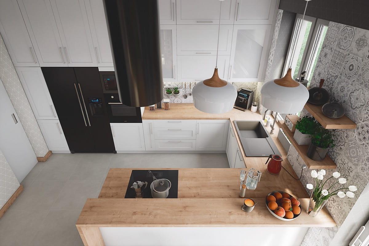 красивое оформление белой кухни