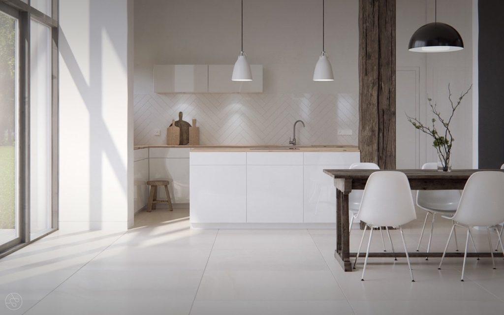 правильное освещение на белой кухне