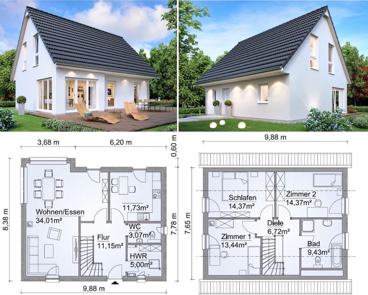 Проект дачного дома 10x8