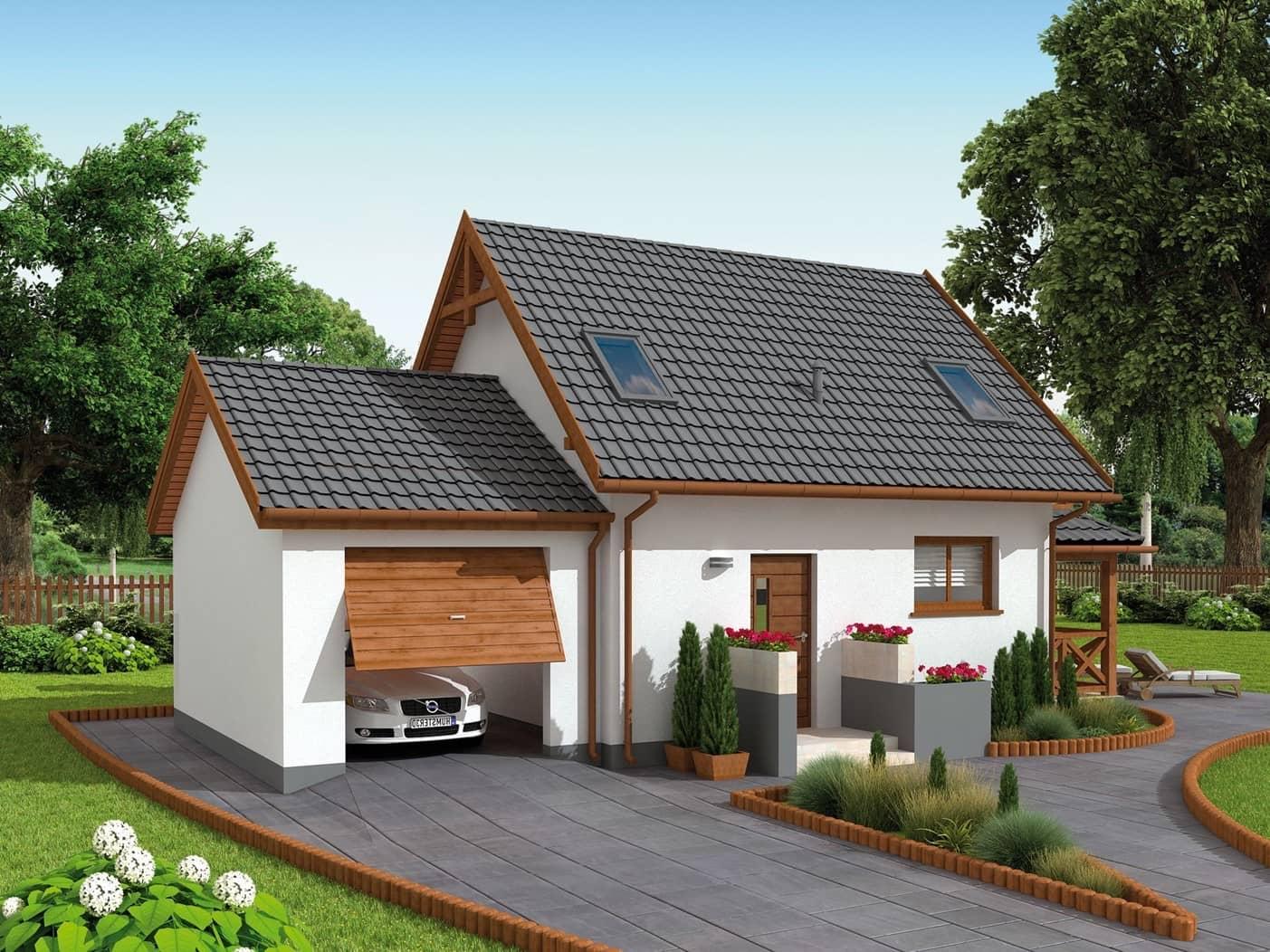 Тандем белых стен и черной крыши выглядит стильно и лаконично в любом исполнении