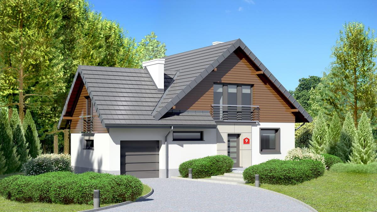 Дом с гаражом под одной крышей с современной планировкой