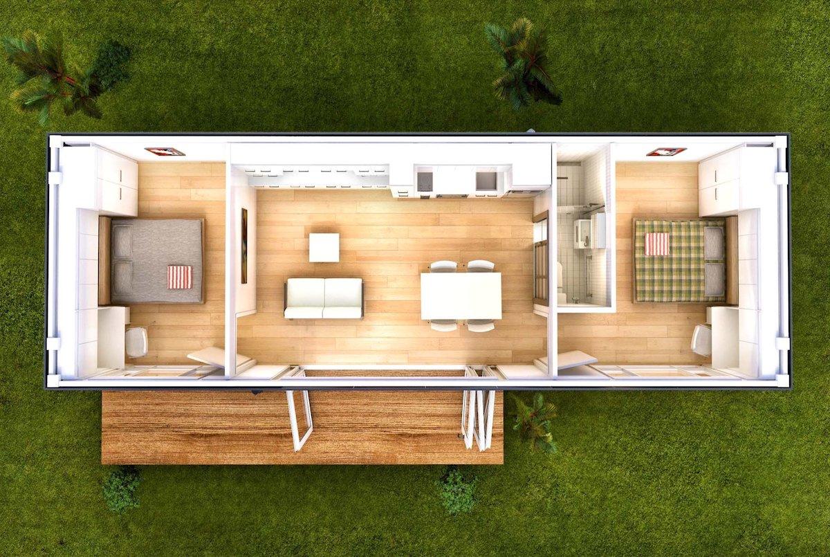Планировка комнат внутри модульного домика