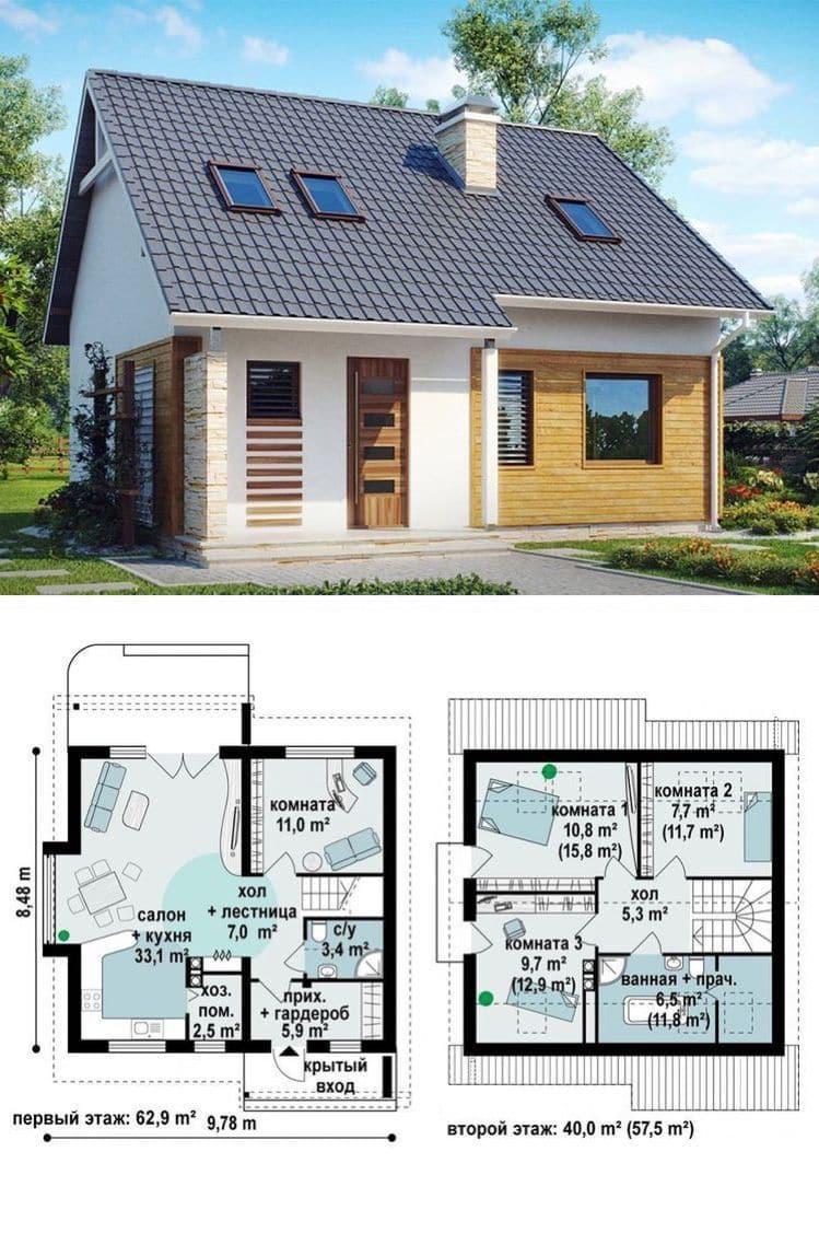 Симпатичный одноэтажный дачный домик с мансардным этажом