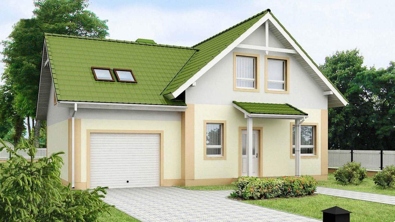 Миниатюрный дачный домик с красивой зеленой крышей