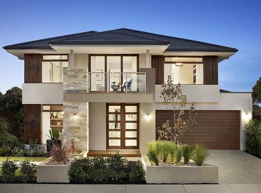 Красивый дом в два этажа с необычными дизайнерскими решениями