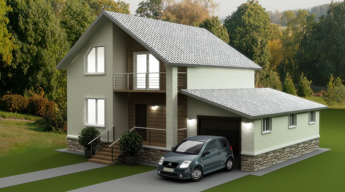 Миниатюрный гостевой домик с небольшим и компактным гаражом