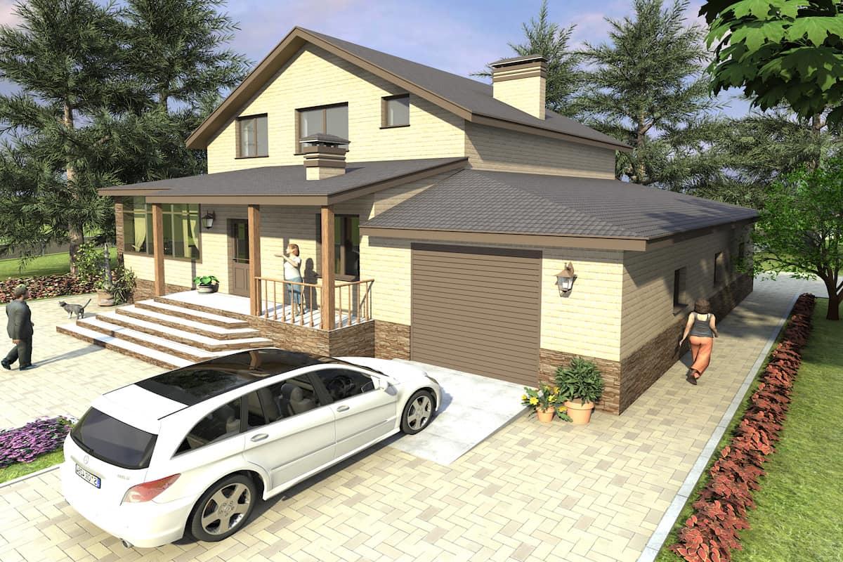 Если вы выбрали проект дома с гаражом под одной крышей, обратите внимание на то, чтобы к гаражу был обустроен удобный подъезд