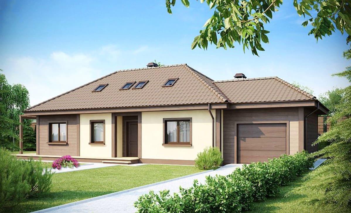 Одноэтажный блочный дом с гаражом в красивом внешнем оформлении