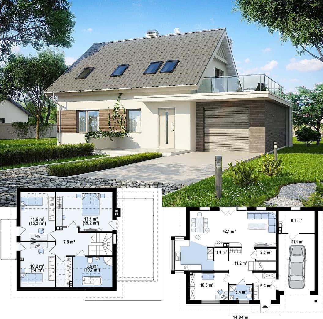 Проект дома с пристроенным гаражом