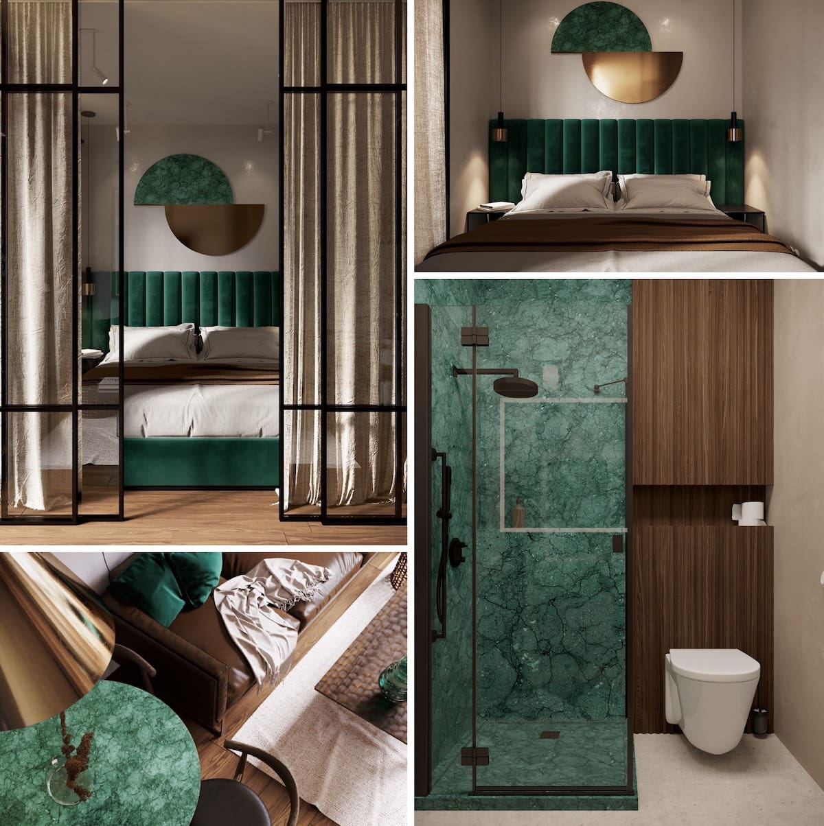 Контрастные зеленые (малахитовые) элементы сделают бежевый интерьер – совершенным