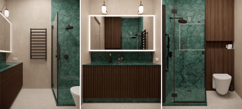 Малахитовый цвет станет украшением бежевой ванной комнаты