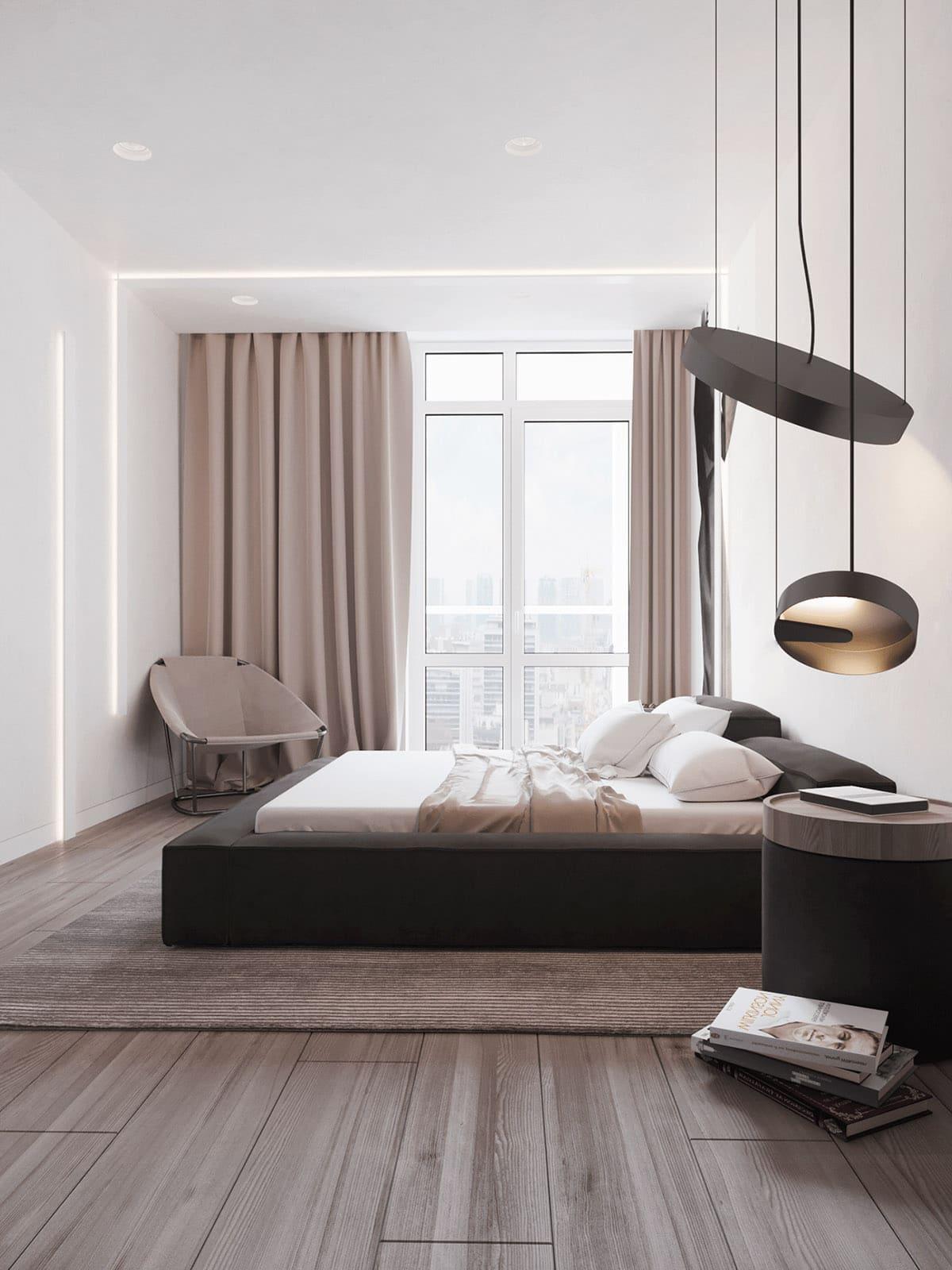 Мягкий и спокойный интерьер большой спальни