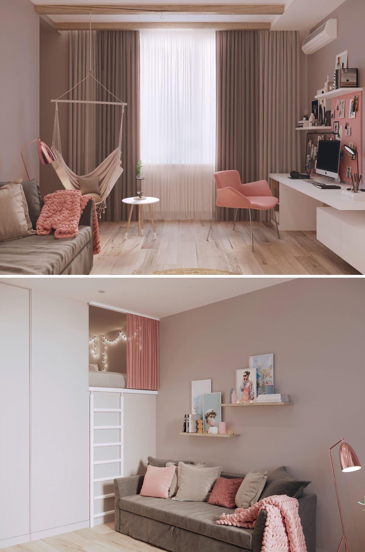 Розовый и бежевый цвет полностью ориентирован на создание уютной и расслабляющей атмосферы