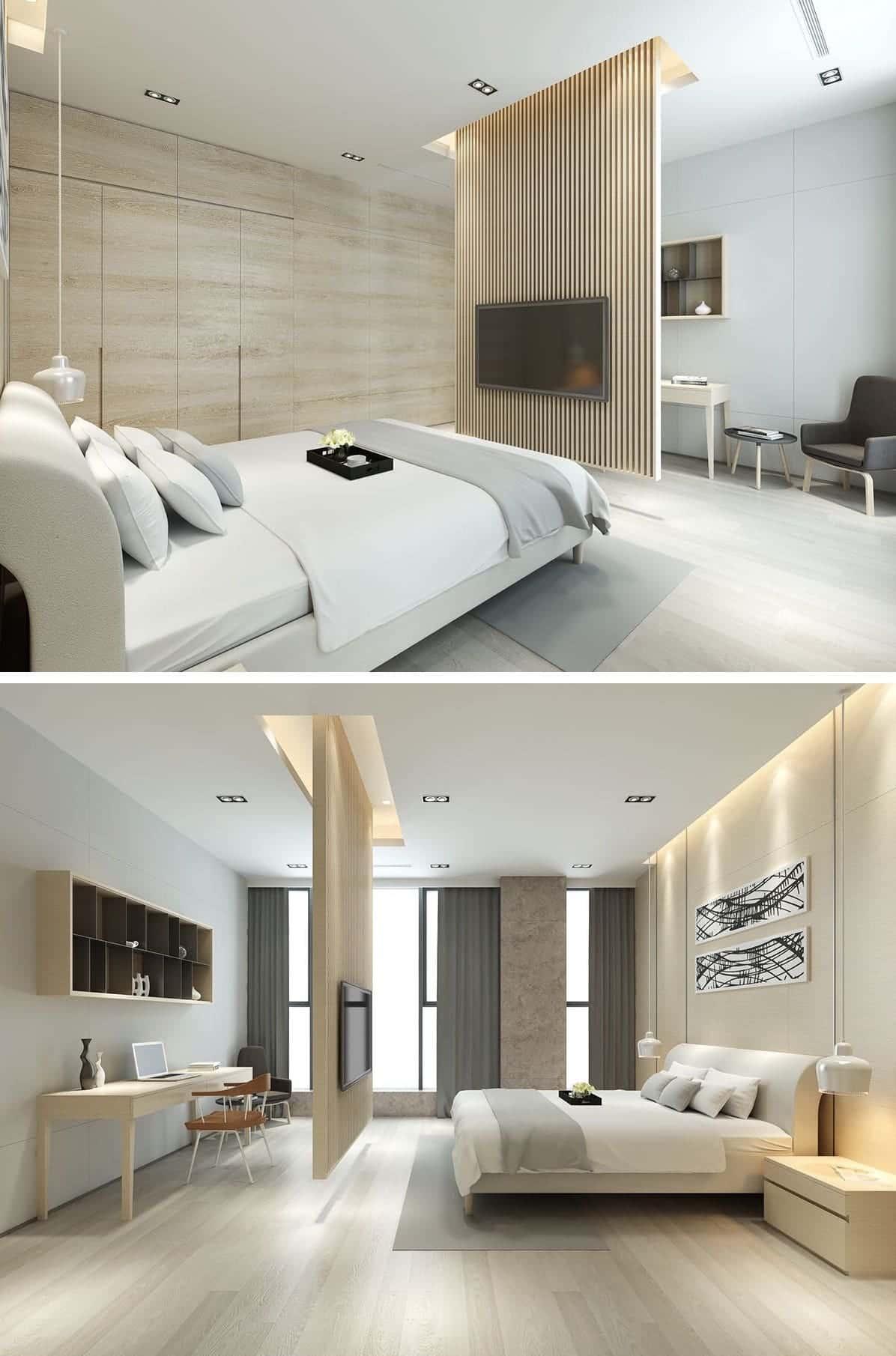 Особую ценность этой спальне придает бежевый цвет стен