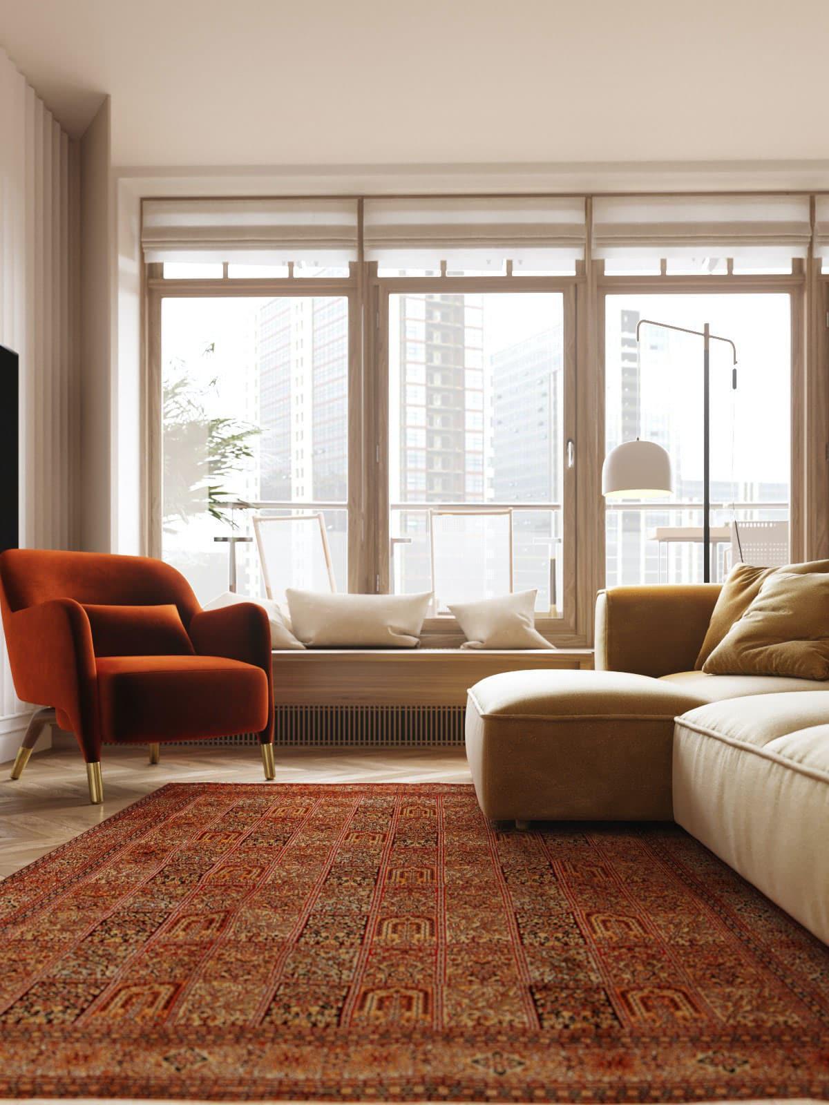 Идеально подобранные цвета в просторной гостиной комнате