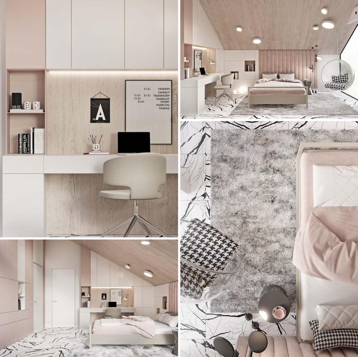 Милая и уютная комната для девочки в нежных розово-бежевых тонах