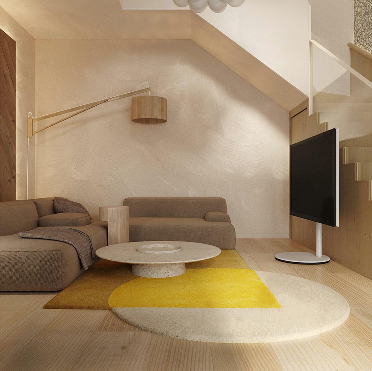 Цветовой дизайн этой гостиной проработан до мелочей