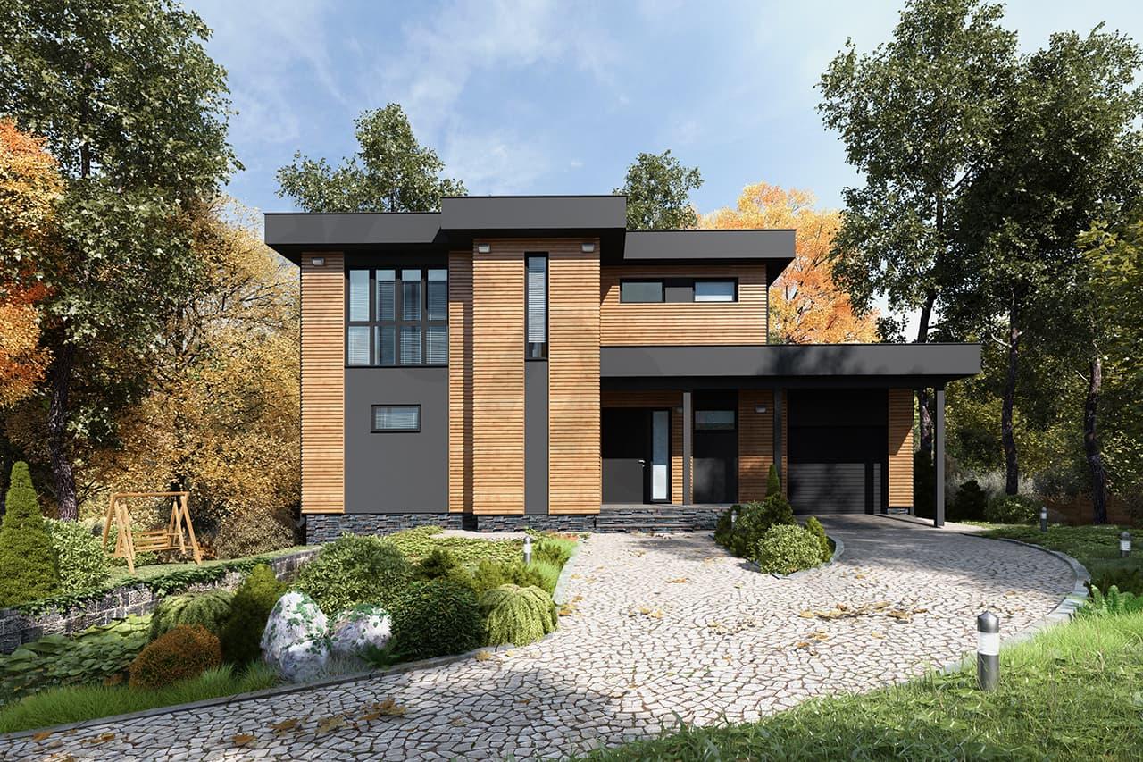 дом с плоской крышей проект фото 24