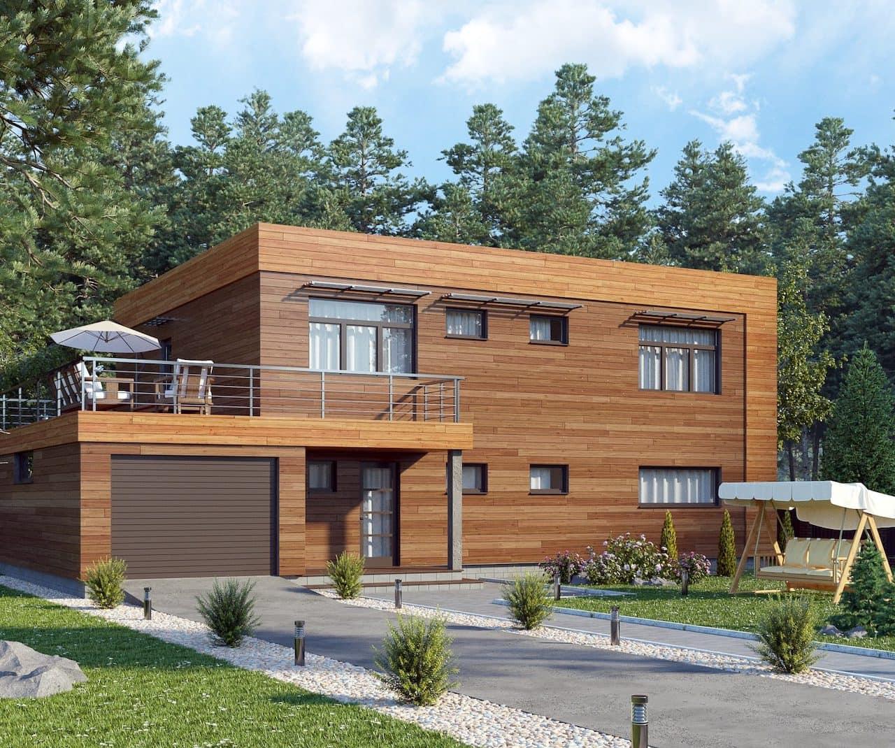 Дом с плоской крышей в скандинавском стиле фото 2