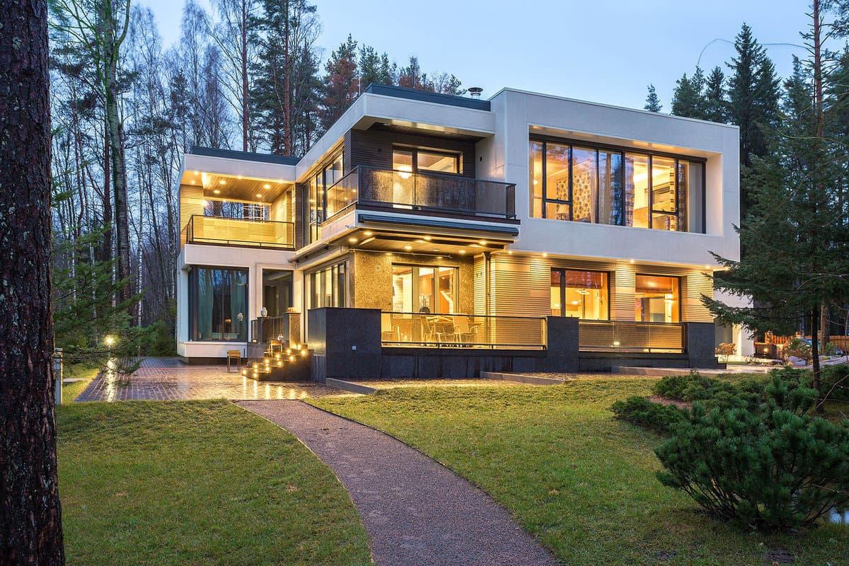 Дом с плоской крышей в скандинавском стиле фото 3