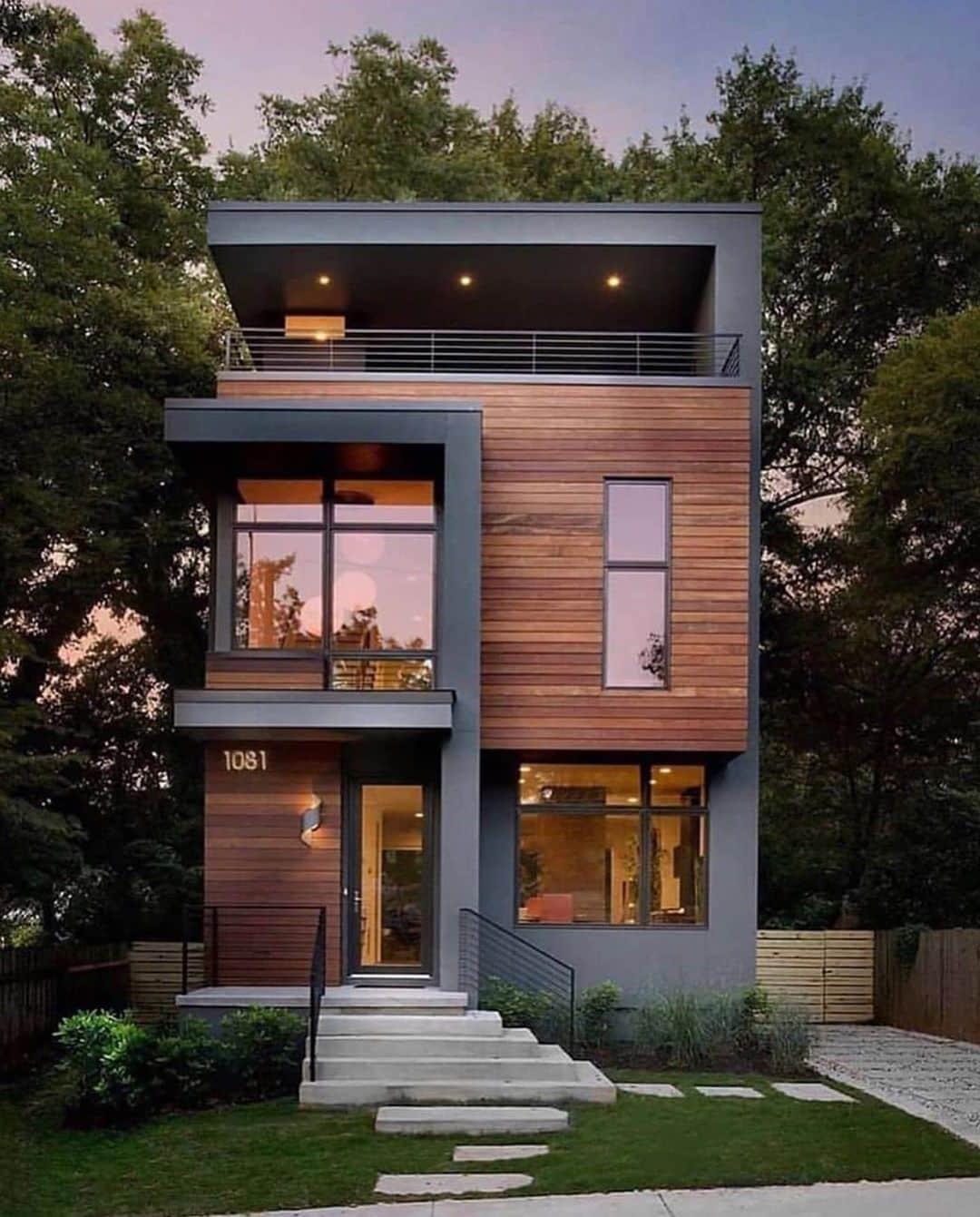 Небольшие дома с плоской крышей фото