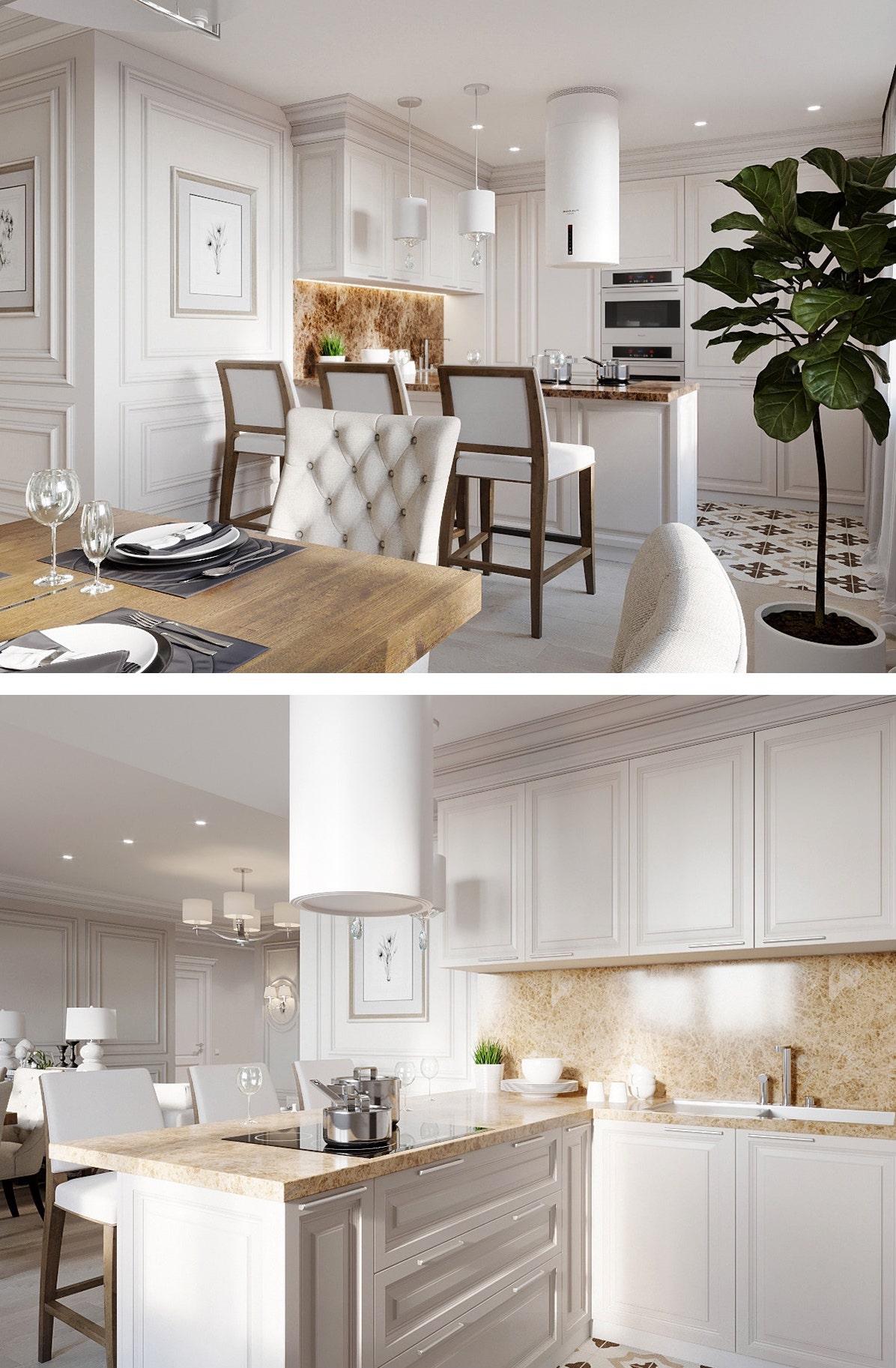 Белая кухня в классическом стиле с красивым фартуком и столешницей по дерево