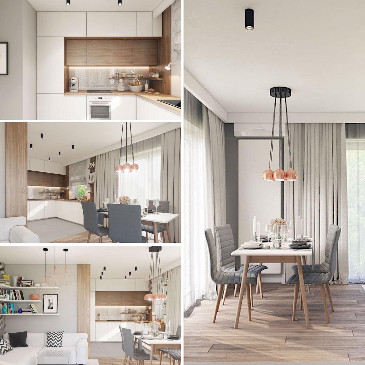 Совмещение цвета и формы создает гармоничный и стильный вид белой кухни с деревянной столешницей