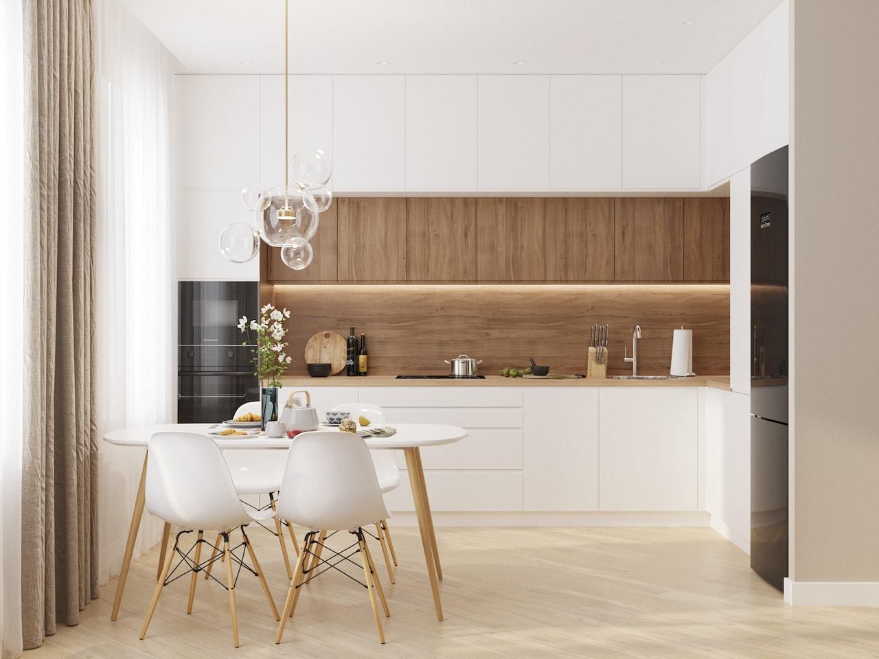 Стильный дизайн белой кухни с правильно расставленными цветовыми акцентами
