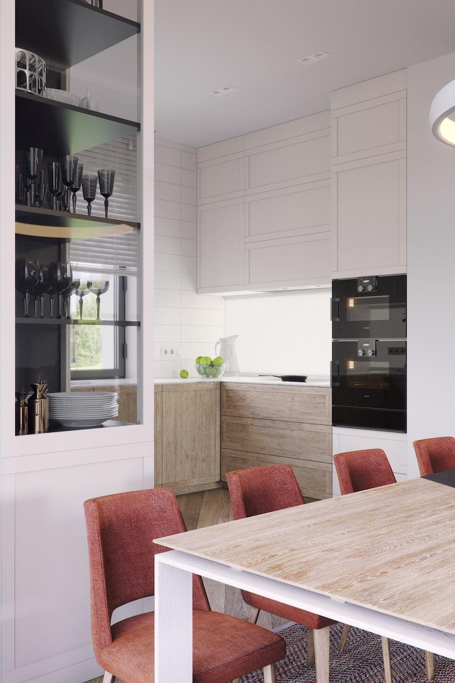 Декорировать под дерево можно не только столешницу, но и фасад нижних шкафов кухни
